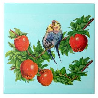 lovebirds or love birds or bird lovers large square tile