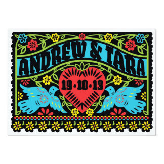 Lovebirds Papel Picado Wedding Invitation