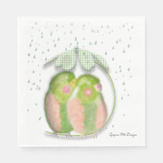 Lovebirds  paper napkin by Gemma O Designs