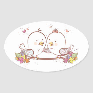 Lovebirds Pink And Brown Wedding Love Oval Sticker