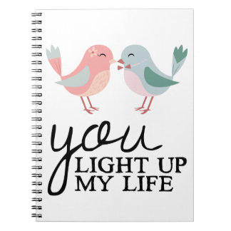 Lovebirds Pink & Blue Love Quote Wedding Notebooks