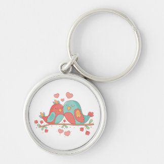 Lovebirds Pink & Blue Turquoise Wedding Love Key Ring