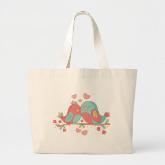 Lovebirds Pink & Blue Turquoise Wedding Love Large Tote Bag
