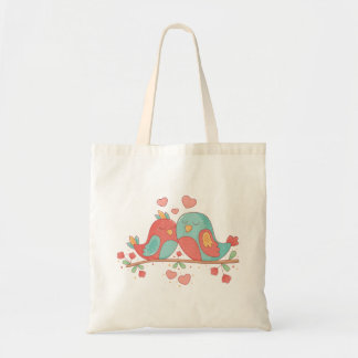 Lovebirds Pink & Blue Turquoise Wedding Love Tote Bag