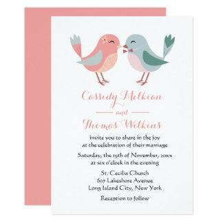 Lovebirds Pink & Blue Wedding Birds Card