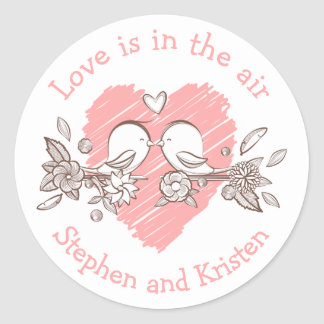 Lovebirds Pink Heart Wedding Personalized Love Classic Round Sticker