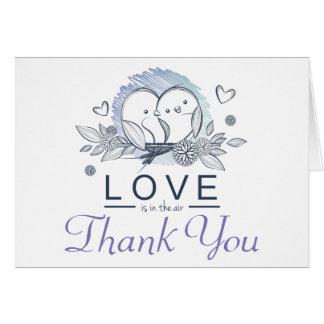 Lovebirds Purple Thank You Wedding Card