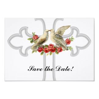 Lovebirds Red Roses Christian Save the Date 9 Cm X 13 Cm Invitation Card
