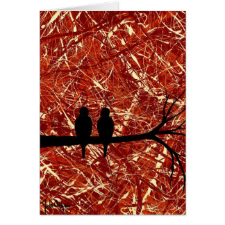 LOVEBIRDS REMAINS OF THE DAY bird design Greeting Card