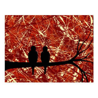 LOVEBIRDS REMAINS OF THE DAY bird design Post Cards