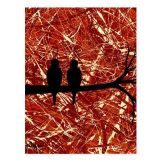 LOVEBIRDS REMAINS OF THE DAY bird design Postcard