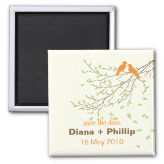 Lovebirds Save the Date Magnet in Orange & Green