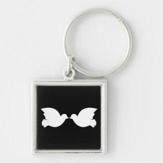 Lovebirds / Small (3.5 cm) Premium Square Key Ring Silver-Colored Square Key Ring