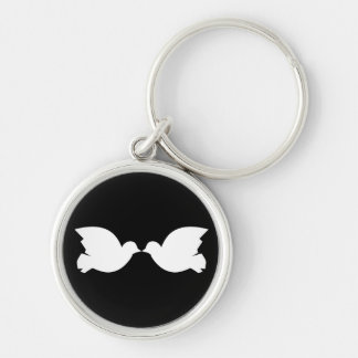 Lovebirds / Small (3.7 cm) Premium Round Key Ring Silver-Colored Round Key Ring