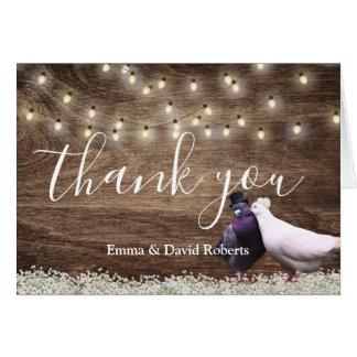 Lovebirds & String Lights Rustic Wedding Thank You Card