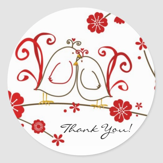 Lovebirds Thank You Stickers, Cherry Blossoms Round Sticker