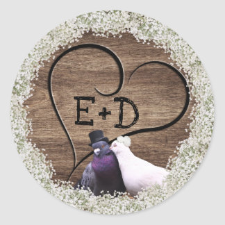 Lovebirds Wood Heart Rustic Floral Wedding Classic Round Sticker