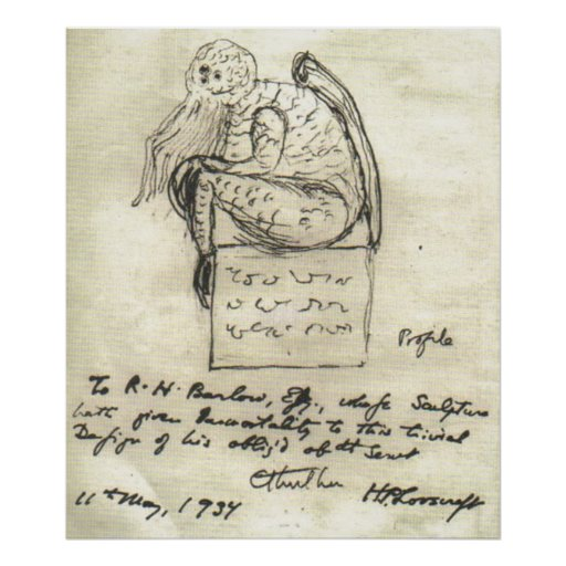 Lovecraft's Sketch 1934 Print