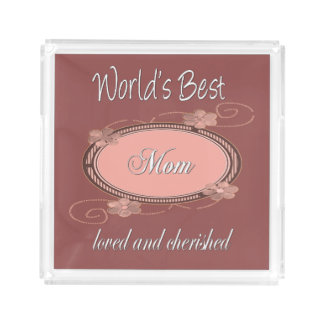 Loved and Cherished Mom Vintage Acrylic Tray