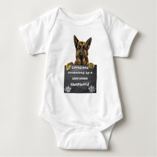 Loved and Protected by a German Shepherd Baby Bodysuit