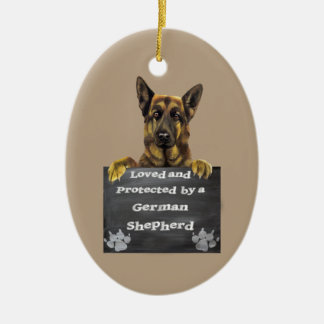 Loved and Protected by a German Shepherd Ceramic Oval Decoration