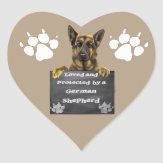 Loved and Protected by a German Shepherd Heart Sticker