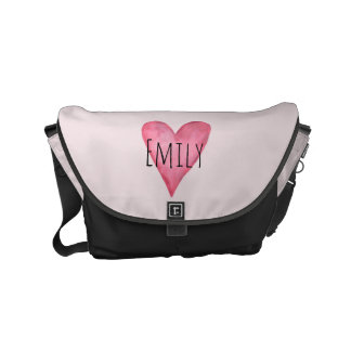 Loved Baby Girl's Pink Heart Diaper Bag with Name Messenger Bags