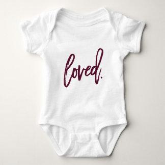 Loved. Burgundy Modern Trendy Script Typography Baby Bodysuit