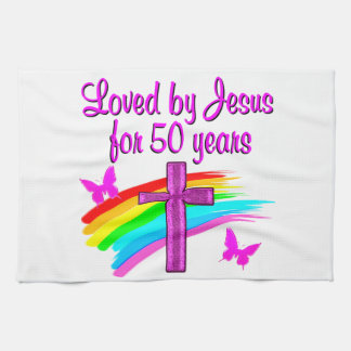 LOVED BY GOD 50TH BIRTHDAY DESIGN TOWEL