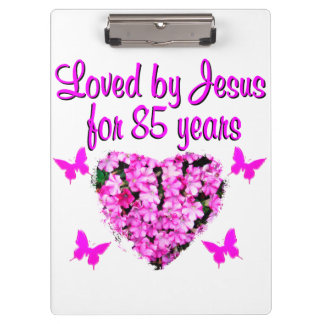 LOVED BY JESUS FOR 85 YEARS FLORAL DESIGN CLIPBOARD