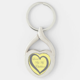 Loved By My Children Keychain Silver-Colored Twisted Heart Key Ring