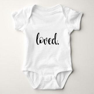 Loved. Modern Trendy Script Typography Type Baby Bodysuit