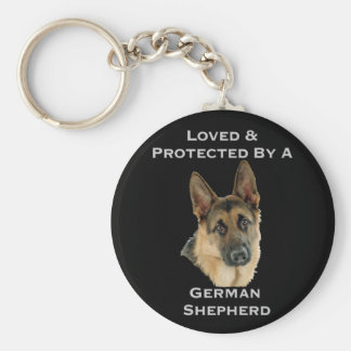 Loved & Protected By A German Shepherd Key Ring