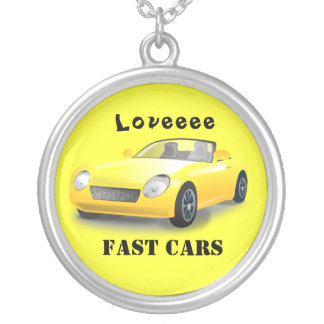 Loveee Fast Cars Round Pendant Necklace