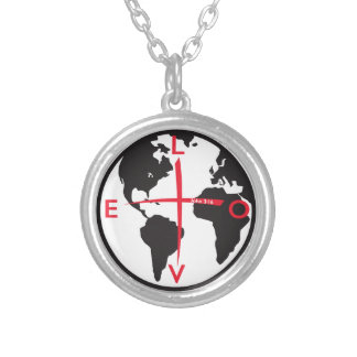 LoveGlobe316 - white background Silver Plated Necklace