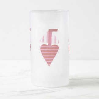 Loveheart Boat Frosted Jug Frosted Glass Beer Mug
