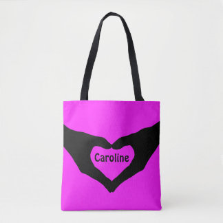 Loveley Hands of Heart black 2 + your ideas Tote Bag