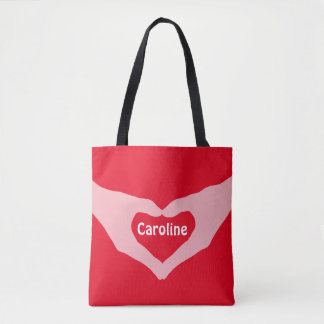 Loveley Hands of Heart white 2 transp. + your idea Tote Bag