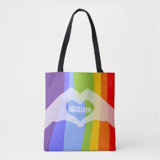 Loveley Hands of Heart white transp. 1 + your idea Tote Bag
