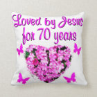 LOVELY 70TH BIRTHDAY PINK FLORAL PHOTO DESIGN CUSHION
