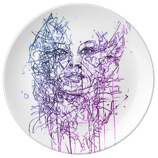 lovely abstract portrait on porcelain late plate