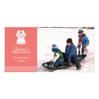 Lovely Angel Christmas Photo Card Coral