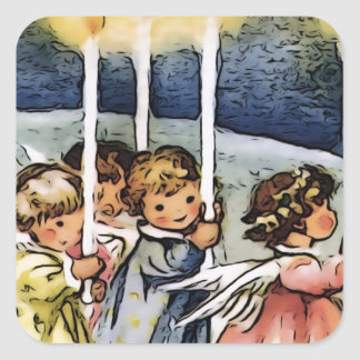 Lovely Angels Square Stickers