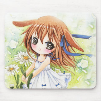 Lovely anime girl with daisy mouse pad