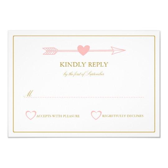 Lovely Arrows Wedding RSVP Card / Blush & Gold