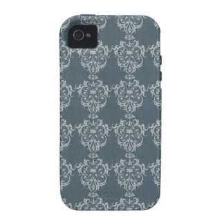 Lovely Art Nouveau Denim Floral Abstract iPhone 4 Cover