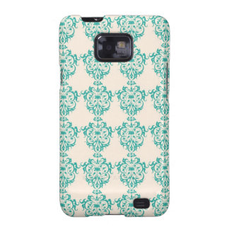 Lovely Art Nouveau Floral Abstract - Teal Galaxy S2 Cases
