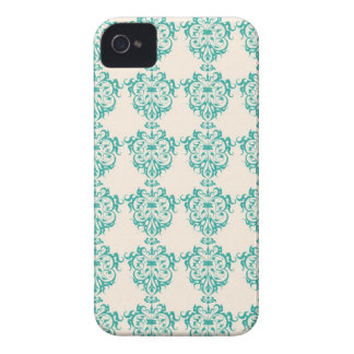 Lovely Art Nouveau Floral Abstract - Teal iPhone 4 Case-Mate Cases