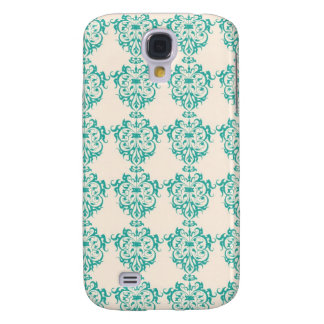Lovely Art Nouveau Floral Abstract - Teal Galaxy S4 Cover