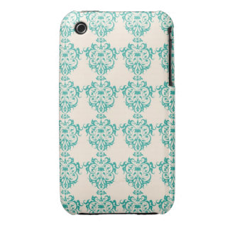Lovely Art Nouveau Floral Abstract - Teal iPhone 3 Case-Mate Case